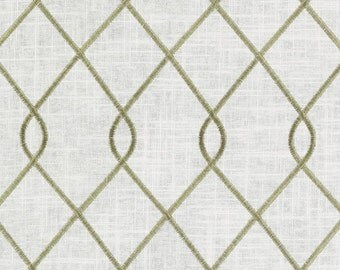 Duralee 73023-279 jungle green and ivory, designer curtain panels, drapes Duralee embroidered drapes