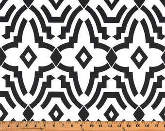 """Fabric shower curtain, chevelle trellis, black and white, cotton print, 72"""", 84"""", 90"""", 96"""", 108"""" custom sizes available"""