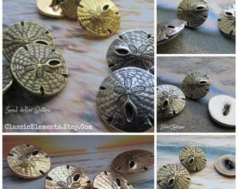 Silver Antique Sand Dollar Button, Pewter Button, Wrap Bracelet Button, TierraCast Buttons, Sand Dollar, Pewter buttons, Sand Dollar Button