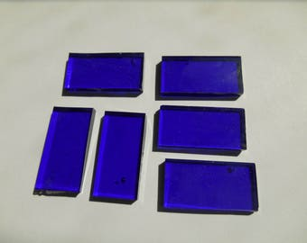 """50 Pieces 1/2"""" x 1"""" Cobalt Sapphire Blue Cathedral  Stained Glass Mosaic Border Tiles Hand cut"""