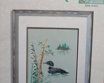 Loon Lake, Counted Cross Stitch Pattern, by Color Charts Inc.,book #10270, Wall Hanging