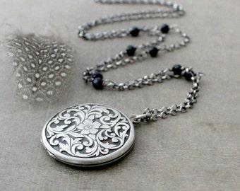 Large Silver Locket, Antique Locket, Sterling Silver Locket Necklace, Silver Round Locket, Silver Photo Locket, Long Chain Locket, Push Gift