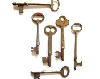 6 Vintage skeleton keys Real keys Antique skeleton keys Old skeleton keys Old Skelton Older keys Antique key collection Old bit keys, #2