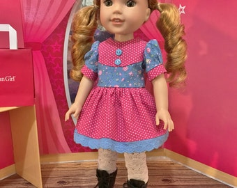 "Wellie Wisher ""Preppy Lady"" Mini dress,  white lace leggins and black lace up boots that  fit WW doll by American Girl"