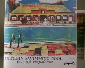 Hitchin Print Card: Hitchin Swimming Pool
