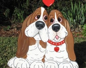 "Made to Order Hand Painted Basset Hound Yard Art - ""Puppy Lovers"""