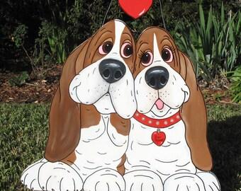 """Hand Painted Basset Hound Yard Art - """"Puppy Lovers"""""""