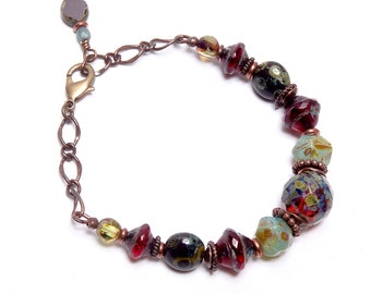 Picasso Glass Bracelet, Cranberry Mint Bracelet