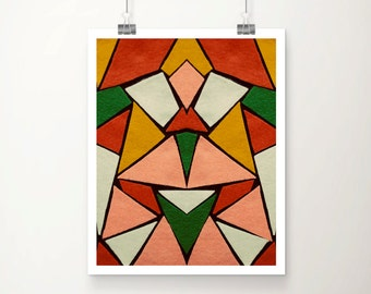 Kaleidoscope Fine Art Print : Mid Century Modern Home Decor Felt Yellow Salmon Green Blue Modern Art