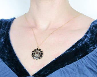 Antique 14k Gold Black Onyx Pendant Necklace | Victorian Mourning Jewelry | Antique Victorian Starburst Pendant
