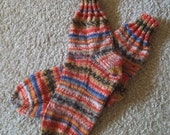 Socks - Handknitted Socks for Women or Girls - Colors Selfstriping - Size Medium 5.5-6 US