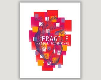 Abstract Art, anatomical heart, heart print, heart art, Fragile, medical office decor, bright colors, medical student, cardiologist,wall art