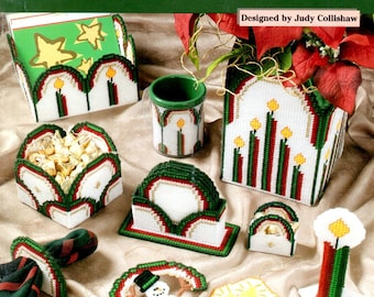 Christmas Rainbows White Green Red Arch Card Holder Box Coasters Candles Plastic Canvas Needlepoint Embroidery Craft Pattern Leaflet 203033
