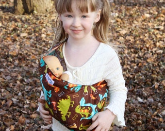 Toy Pouch Sling Baby Doll Carrier - Dino Dudes- Great Big Brother Gift - Keep favorite Toys Safe While Out and About