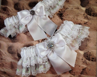 White Satin White Iridescent Lace Vintage Aurora Borealis Wedding Garter Bridal Set