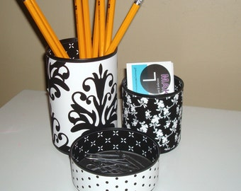Black and White Tin Can Desk Accessories, Damask Polka Dot Floral Pencil Holder, Pencil Cup, Desk Organization, Office Decor Dorm Decor 897