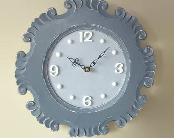 SILENT Gray Cottage Chic Distressed Wall Clock - Large Wall Clock - Unique Wall Clock - Shabby Wall Decor - 2334