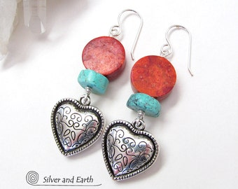 Silver Heart Earrings, Turquoise & Red Coral Earrings, Southwestern Jewelry, Southwest Earrings, Heart Jewelry, Mother's Day Jewelry Gift