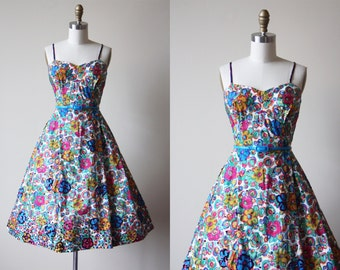1950s Dress - Vintage 50s Dress - Colorful Floral Print Cotton Party Dress w Purple Beaded Sequins M L - Sweet Nothings Dress