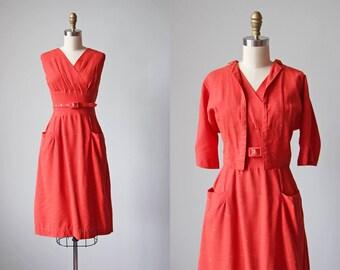 50s Dress - Vintage 1950s Dress - Coral Fleck Bust Shelf Rayon Sundress and Jacket Set L - Cudelliro Dress