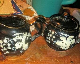 Vintage Terracotta Glazed Sugar & Creamer