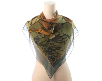 GREEN CHIFFON Scarf 70s Sheer Boho Transparent Abstract Printed Mossy Brown Black Light Neck Wear Ladies Neck Scarf 35 inch Square Gift Idea