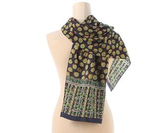 MENS Vintage SCARF 90s Neckerchief SUNFLOWER Print Floral Neckwarmer Classy Shawl Retro Muffle Black Green Yellow Boyfriend Gift