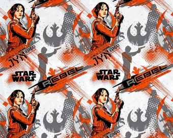 Muslin lined Curtains using Star Wars Rogue One: A Star Wars Story Jyn Erso Orange