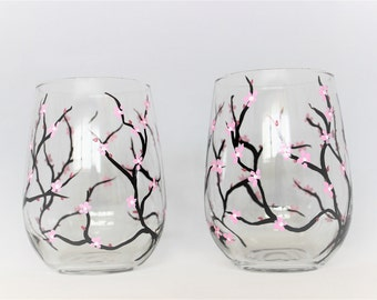 Cherry blossoms, hand painted stemless wine glasses, cherry blossom glasses, set of 2 Ready to Ship