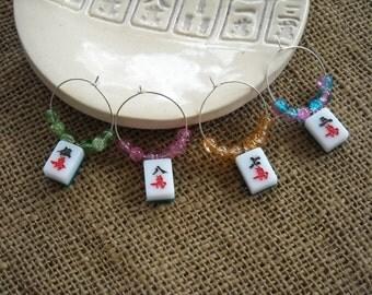 Mahjong Wine Charms  - Mahjongg Player Gift - Mah Jong Tile Charms
