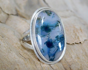 Dendritic Agate in Sterling Silver Ring 26 mm x 16 mm Dendrite RF015