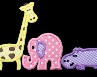 946 Zoo Animals Machine Embroidery Applique Design