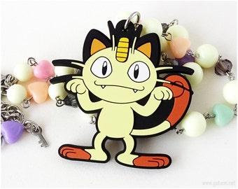 Meowth Pokemon Necklace, Pokemon Jewelry, Kawaii Jewelry, Pastel Goth, Gamer Girl, Cream, Pastel Colors