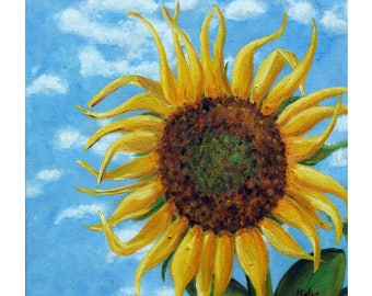 Sunflower Painting, Yellow Flower, Sunflower Art, Summer, Floral Painting,Original Painting, Square Canvas, Sunflower, Arkansas, Helen Eaton