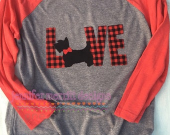 Dog Love Raglan, Dog Love, Dog Shirt, Scottie Dog Shirt, Golden Retriever Shirt, Pug Shirt, French Bull Dog Shirt Gift for Her
