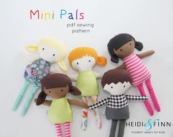 NEW Mini Pals  soft rag doll sewing pattern toy softie stuffed doll
