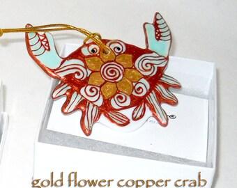 Copper Crab Ornament Hand Painted Porcelain Ornament Decorative Art Hostess Gift; Boxed