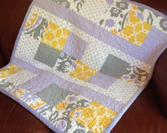 Baby Blanket Quilt Girl Lavender Gray Yellow Girl Quilt/READ,Y TO SHIP/Floral Moroccan Lattice Chevron Baby Quilt