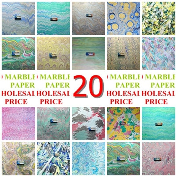 20 hand marbled  paper, carta marmorizzata, marmorpapier -  2770