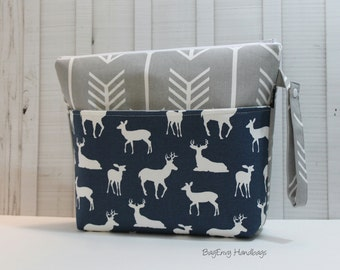 Grey Arrows and Navy Deer - Large Zippered Diaper Clutch / Toddler Bag - Attach to Stroller