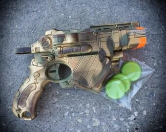 Steampunk Gun Nerf N-Strike Vortex Proton Blaster  Victorian Gothic Zombie Vampire killer soft dart disc toy camouflage