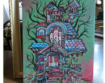 Gardeny Mansion, Original Acrylic Painting -Home Tree Home- by Buzz Parker 11x14  Treehouse Forest Landscape Escape House