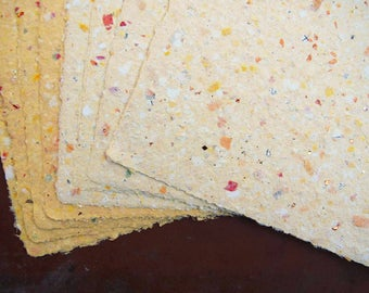 Handmade Recycled Paper - Marigold with Added Glitter