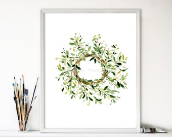 art print Mistletoe wreath. wreath watercolor print , Christmas decor Christmas plants, green, home and living, Mistletoe watercolor