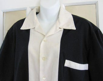 Vintage Bowling Shirt Two Tone Retro 50s Style Large