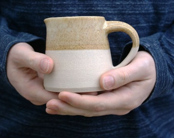 Cafe style pouring jug for milk - hand thrown in stoneware and partly glazed in natural brown