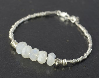 Moonstone and sterling silver beads  bracelet