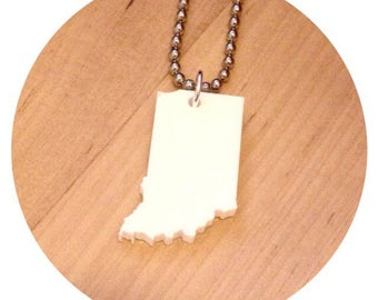 Indiana Necklace, US State Shape Jewelry, White Acrylic, State Jewelry