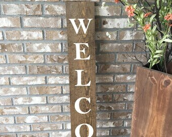 Welcome sign for front door, large welcome, wood sign, entryway decor, porch sign, large wooden sign, farmhouse decor, housewarming gift