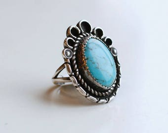 1960s sterling and light blue turquoise statement ring / vintage 60s silver and robins egg blue turquoise scalloped frame large ring size 6